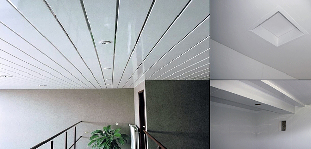 Пластиковый потолок из ПВХ-панелей на кухне, в ванной